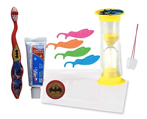 Bundle of 6 Items: Batman Toothbrush, Kid's Crest Toothpaste, Flossers, Timer, Pouch, Stickers and Bonus Tooth necklace!
