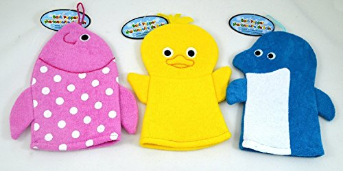 Set of 3 Terry Cloth Hand Puppet Wash Cloths Dolphin Fish Baby Chick