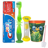 """Bugs & Critters"" Inspired 4pc Bright Smile Oral Hygiene Set! Soft Toothbrush, Toothpaste, Timer & Cup! Plus Bonus""Remember to Brush"" Visual Aid!"