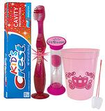 """Pretty Princess"" Inspired 4pc Bright Smile Oral Set! Soft Manual Toothbrush, Toothpaste, Brushing Timer & rinse Cup! Plus Bonus Tooth Necklace"