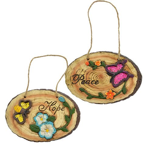 Woodland Cement Inspirational Hanging Plaques (Set of 2) Assorted variety