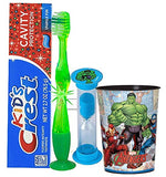 "Avengers""The Hulk"" Inspired 4pc Bright Smile Oral Hygiene Bundle Light Up Toothbrush, Toothpaste, Timer & Rinse Cup Plus Dental Gift Bag"