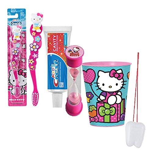 Hello Kitty Inspired 4pc Bright Smile Oral Hygiene Bundle! Toothbrush, Toothpaste, Brushing Timer & Mouthwash Rinse Cup  Plus Bonus Tooth Necklace!