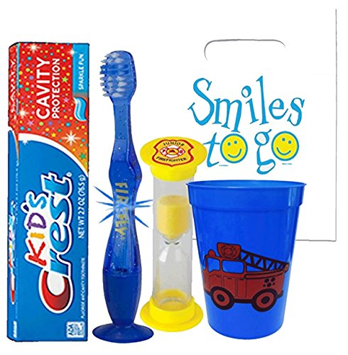Fire Truck Inspired 4pc Smile Oral Hygiene Bundle Light Up Toothbrush, Toothpaste, Brushing Timer & Rinse Cup Plus Dental Gift Bag & Tooth Saver