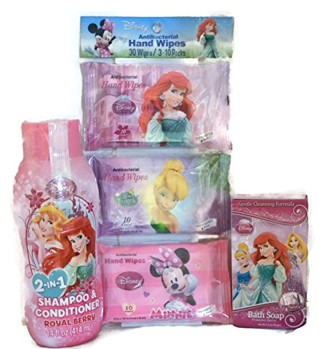 Princess Bath Bundle of 3 Items Include 14 Oz Royal Berry 2 in 1 Shampoo & Conditioner, 3.2 Oz Princess Berry Molded Bath Soap & 3 - 10 Pack Princess Antibacterial Hand Wipes