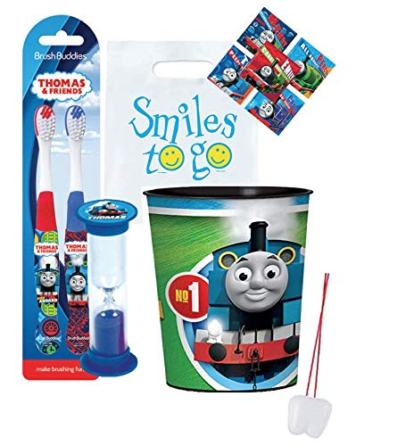 Thomas & Friends 4pcs Smile Oral Hygiene Bundle Thomas The Train 2pk Toothbrush, Timer & Rinse Cup Plus Dental Gift Bag, Stickers & Necklace