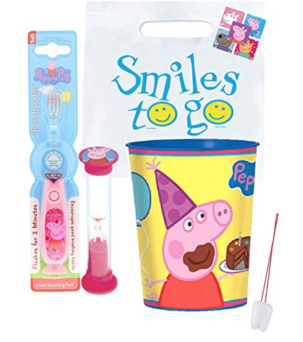 Peppa Pig Inspired 3pc Bright Smile Oral Set! Light Up Toothbrush, Timer & Mouthwash Rinse Cup! Bundle Plus Bonus Remember to Brush Visual Aid!