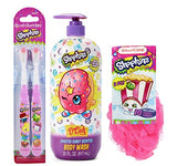 Shopkins 4pcs Bath Bundle: 2pk Shopkins Toothbrush, Frosted Donut Scented Body Wash, Bath Sponge, and Pack of Shopkins Tissue