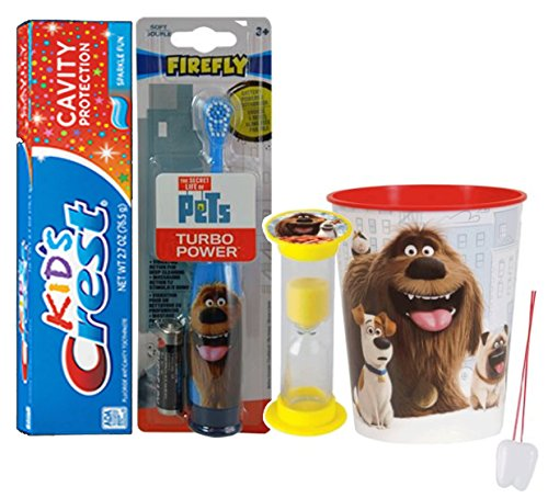 "The Secret Life Of Pets ""Duke"" Inspired 4pc Bright Smile Hygiene Bundle! Powered Toothbrush, Toothpaste, Timer & Rinse Cup! Plus tooth necklace"