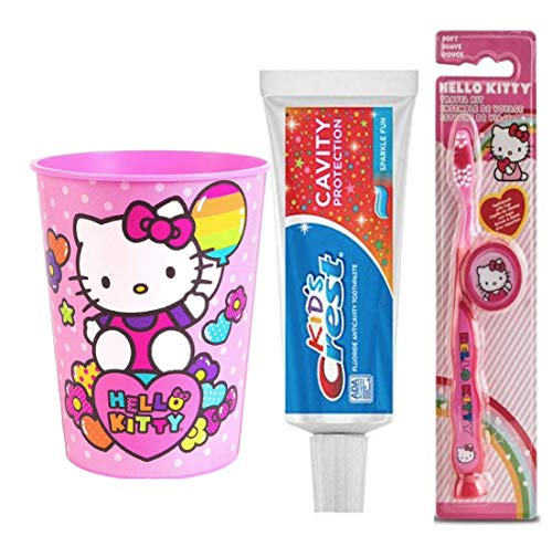 Hello Kitty Inspired 4pc Bright Smile Oral Hygiene Set! Soft Manual Toothbrush with Caps , Crest Kids Toothpaste Bundle Bonus Rinse Cup!