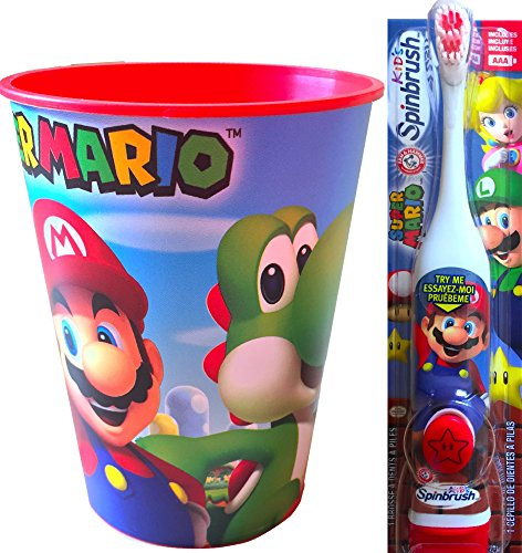 Super Mario Children's Oral Hygiene Set Includes Super Mario Rinsing Cup with Super Mario Powered Toothbrush