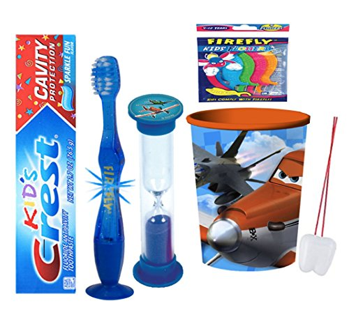 Disney Planes Inspired 4pcs Bright Smile Oral Bundle! Flashing Lights Toothbrush, Toothpaste, Timer & Rinse Cup! Plus Bonus Tooth Necklace!