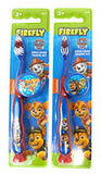 (Pack of 2) Firefly Nickelodeon Paw Patrol Kids Toothbrushes with Suction Cup and Toothbrush Cap - for Boys 3+ yrs. (Blue)