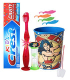 Wonder Woman Inspired 4pc Bright Smile Oral set! Light Up Toothbrush, Toothpaste, Timer & Rinse Cup! Plus Bonus Tooth Necklace Option 1