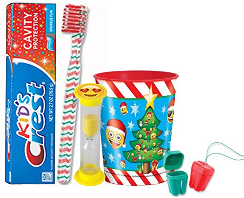 """Emoji"" Christmas Inspired 6pc Bright Smile Oral Hygiene Stocking Stuffer Gift Set!  Toothbrush, Toothpaste, Timer, Cup & Tooth Saver Necklaces!"