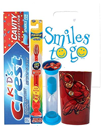 "Justice League""The Flash"" 4pc Bright Smile Oral Hygiene Bundle! Light Up Toothbrush, Toothpaste, Timer & Rinse Cup!  Plus Bonus Tooth Necklace"
