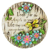 "Spring Cement Stepping Stones with Inspirational Sayings and Sparkly Gemstones, 6"" Inch"