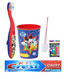 Disney Mickey Mouse Inspired 3pc. Bright Smile Hygiene Bundle Soft Toothbrush, Crest Kids Sparkle Toothpaste & Rinse Cup Plus Visual Aid