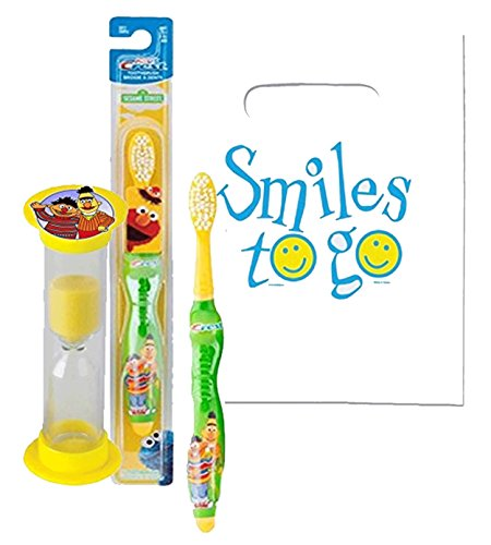 "Sesame Street""Bert & Ernie"" Inspired 2pc Bright Smile Hygiene Set Includes Soft Toothbrush & Timer Plus Dental Gift & Visual Aid"