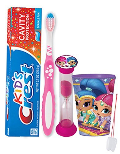 Disney Shimmer & Shine Inspired 4pc Bright Smile  Oral Hygiene Bundle! Toothbrush, Toothpaste, Brushing Timer & Rinse Cup! Plus Bonus Tooth Necklace!