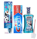 Disney Frozen Pro Health Jr 3pcs Bundle Smile Collection Battery Powered Toothbrush, Toothpaste & LISTERINE Smart Anticavity Fluoride Rinse Plus Bonus