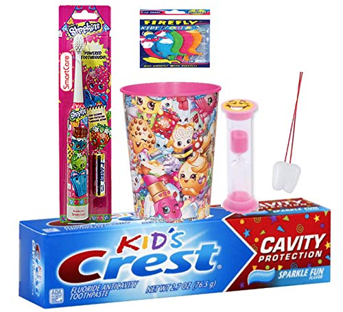 Shopkin 4pcs Oral Hygiene Bundle Turbo Crest Kids Sparkling Toothpaste, Powered Toothbrush, Timer & Rinse Cup Plus Bonus Flossers & Necklace