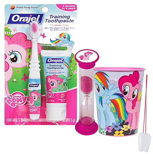 My Little Pony Inspired 4pc Bright Smile Oral Hygiene Set! Toothbrush, Toothpaste, Timer & Mouthwash Rinse Cup! Plus Bonus Tooth Necklace