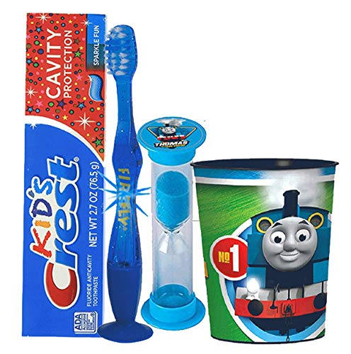 """Thomas The Train"" Inspired 4pc Bright Smile Oral Hygiene Set! Flashing Lights Toothbrush, Toothpaste, Timer & Cup! Plus Bonus Tooth Necklace"