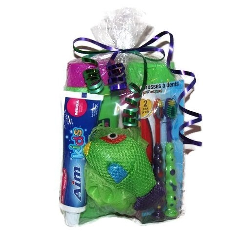 Kids Bath Travel Gift Set Toothbrush Toothpaste Shampoo Conditioner Shower Tub Body Wash Gel Fish Scrubby Sponge Bundle