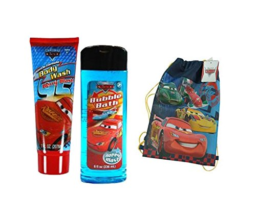 "Disney Pixar Car's ""Berry Blast"" Boys 2pc. Bath Time Gift Set! Plus Bonus Lightning McQueen Sling Bag Tote!"