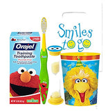Sesame Street Elmo & Friends 4pc Bright Smile Hygiene Bundle! Toothbrush, Toothpaste, Timer & Rinse Cup! Plus Bonus Tooth Necklace