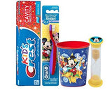 Disney Mickey Mouse Inspired 4pc. Bright Smile Oral Hygiene Set! Toothbrush, Crest Kids Sparkle Toothpaste, Brushing Timer & Mouthwash rinse Cup!