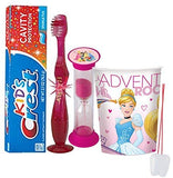 Disney Princess Inspired 4pc Bright Smile Oral Hygiene Set! Flashing Lights Toothbrush, Toothpaste, Timer & Rinse Cup!Plus Bonus Tooth Necklace