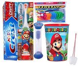 Super Mario Brothers 4pcs Bright Smile Oral Bundle! Powered Toothbrush, Toothpaste, Timer & Rinse Cup! Plus Flossers & Tooth Saver Necklace!