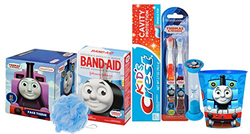 Thomas The Train & Friends 8pc Boys Toothbrush, Toothpaste, Timer, Rinse Cup, Bath Scrubby, Tissue Box & Bandages!