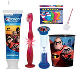 The Incredibles Inspired 4pcs Bright Smile Oral Set! Incredibles Toothpaste, Light Up Toothbrush, Timer & Cup! Plus Bonus Tooth Necklace!