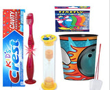 Bowling Inspired 4pcs Bright Smile Oral Set! Toothpaste, Flashing Light Toothbrush, Brushing Timer & Rinse Cup! Plus Bonus Tooth Necklace!