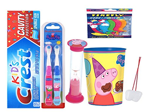 Peppa Pig Inspired 5pcs Bright Smile Hygiene Bundle! 2pk Toothbrush, Toothpaste, Timer & Mouthwash Rinse Cup! Plus Bonus Tooth Necklace!