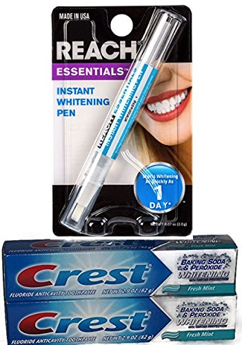 Sparkling White Teeth Bundle - Two Tubes of Crest Whitening Toothpaste and One RREACH Instant Whitening Pen - 3 Items in All