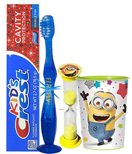"Despicable Me ""Minions"" Inspired 4pc Bright Smile Oral Hygiene Set! Flashing Lights Toothbrush, Toothpaste, Timer & Cup! Plus Bonus Tooth Necklace"