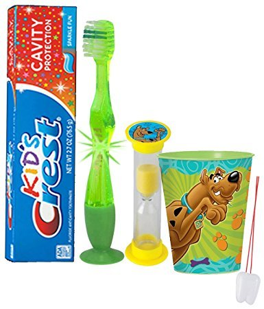 """Scooby Doo"" Inspired 4pc Bright Smile Oral Hygiene Set! Flashing Lights Toothbrush, Toothpaste, Timer & Cup! Plus Bonus Tooth Necklace"