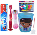 Doc McStuffins Inspired 4psc Bright Smile Care Bundle! Light Up Toothbrush, Toothpaste, Brushing Timer & Cup! Plus Bonus Tooth Necklace