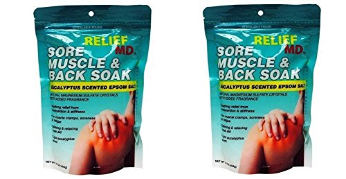 Relief Md Sore Muscle & Back Soak Eucalyptus Scented Epsom Salt - 16 Oz. (Pack of 2)