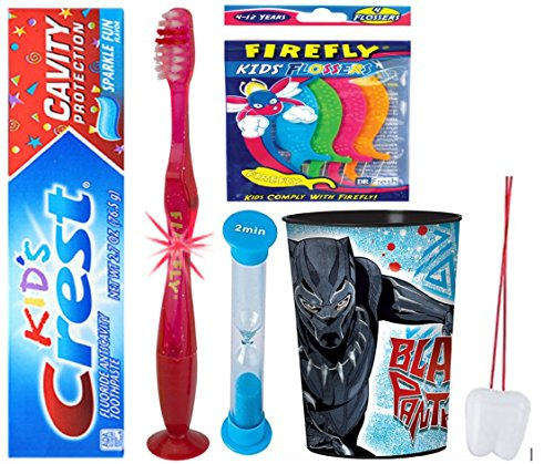 Black Panther Inspired Oral care 4pcs set: Flashing Light Toothbrush, Toothpaste, Brushing Timer & Mouthwash Cup! Plus Bonus Tooth necklace