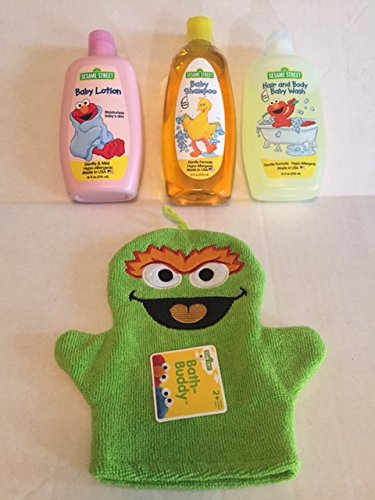 Sesame Street 4 Piece Baby Bathtime Bundle: Baby Shampoo, Baby Lotion, Hair and Body Baby Wash, and Character Bath Washcloth (Green)