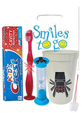 """Pixel Spider"" 4pc Bright Smile Oral Hygiene Bundle!Flashing Lights Toothbrush, Toothpaste, Timer & Cup! Plus Bonus Tooth Necklace"