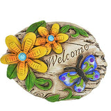 Decorative Garden Stone Butterfly with Gemstones Welcome