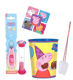Peppa Pig Inspired 3pc Bright Smile Oral Hygiene Bundle! One Light Up Toothbrush, Brushing Timer & Mouthwash Rinse Cup! Plus Bonus Remember to Brush Visual Aid!