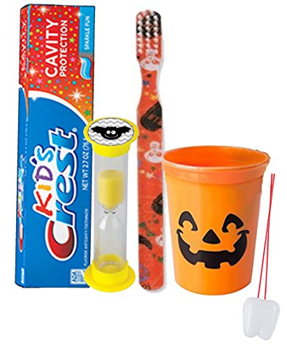 Happy Halloween Inspired Trick Or Treat 4pc Bright Smile Oral Hygiene Set! Toothbrush, Toothpaste & Rinse Cup! Plus Bonus Tooth Necklace!