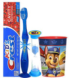 Paw Patrol Chase Inspired 4pc Bright Smile Oral Hygiene Set! Flashing Lights Toothbrush, Toothpaste, Brushing Timer & Cup!Plus Bonus Tooth Necklace
